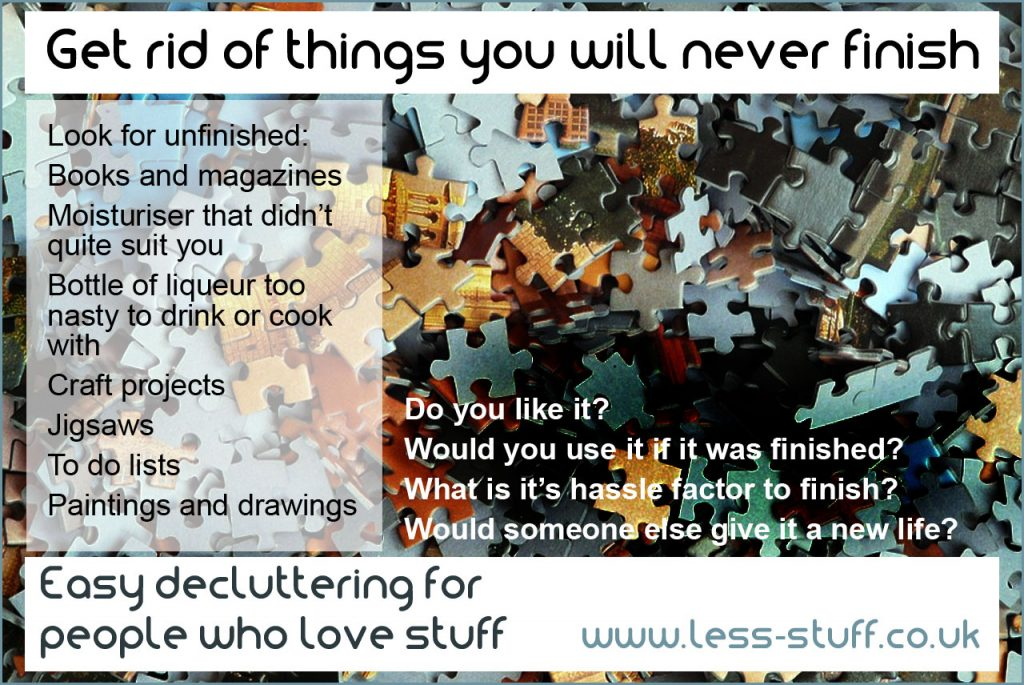 declutter unfinished things