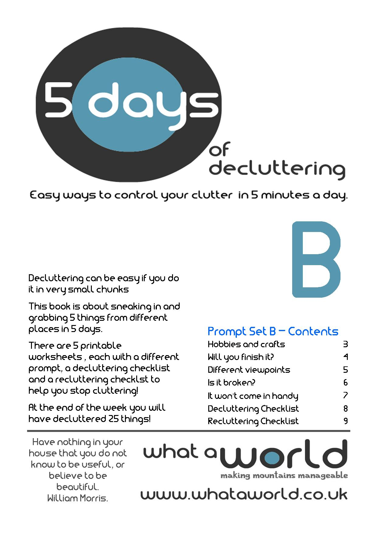 Living with less stuff and decluttering