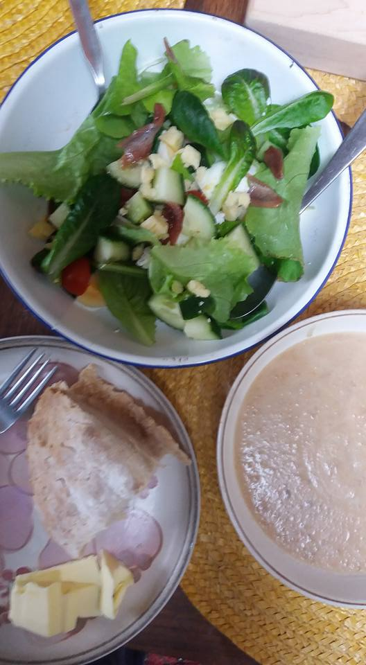 Salad, Leek and Potato Soup and Soda Bread