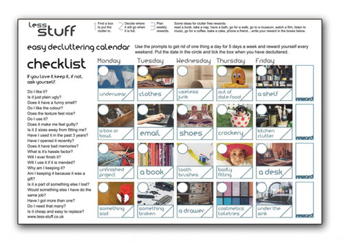 declutter with this calendar and checklist