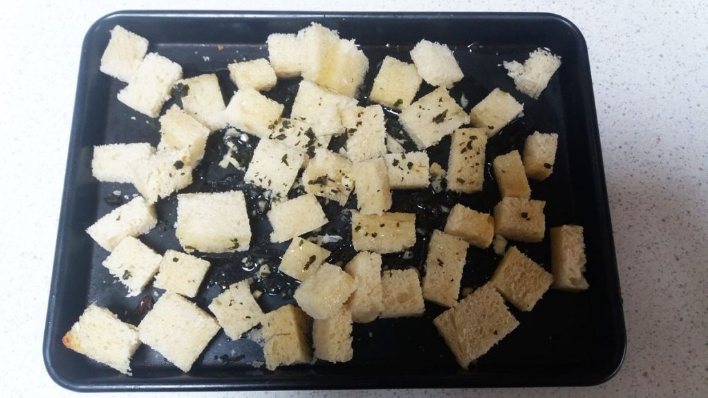 herby oven croutons